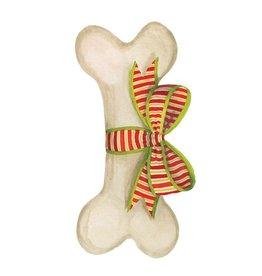 Caspari Ornament Gift Tags 4pk Die-Cut Dog Bone And Bow