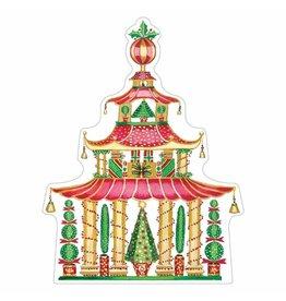 Caspari Ornament Gift Tags 4pk Die-Cut Christmas Pagoda