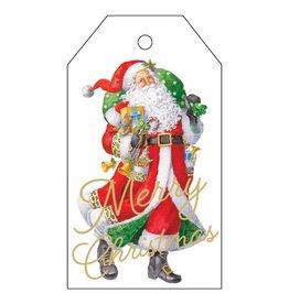 Caspari Classic Hanging Gift Tags 4pk Woodland Santa