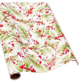 Caspari Christmas Gift Wrapping Paper 8ft Roll Berries And Pine