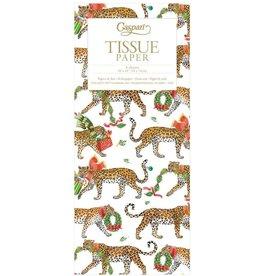 Caspari Christmas Leopards Gift Tissue Paper 4 Sheets