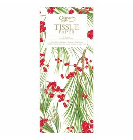 Caspari Christmas Gift Tissue Paper 4 Sheets Berries And Pine