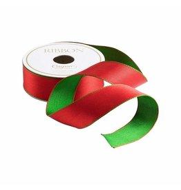 Caspari Red And Green Reversible Satin Wired Ribbon 10 Yard Spool