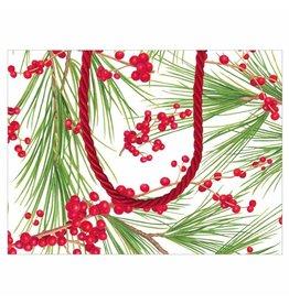 Caspari Christmas Gift Bag Small 7x3x5.25 Berries And Pine