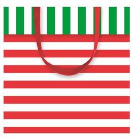 Caspari Christmas Gift Bag Small SQ 5.75x2.5D Club Stripe