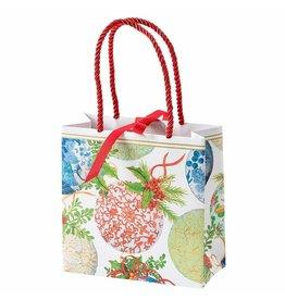 Caspari Christmas Gift Bag Small SQ 5.75x2.5D Porcelain Ornaments