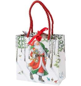 Caspari Christmas Gift Bag Small SQ 5.75x2.5D Woodland Santa