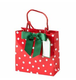 Caspari Christmas Gift Bag Small SQ 5.75x2.5D Painted Dots