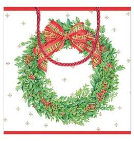 Caspari Christmas Gift Bag Small SQ 5.75x2.5D Boxwood And Berries