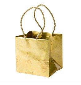 Caspari Christmas Gift Bag Small Cube 5x4.5D Antique Gold
