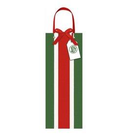 Caspari Christmas Wine Bottle Gift Bag Firenze Stripe Green White Red