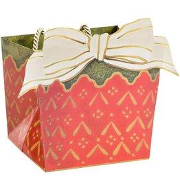 Caspari Christmas Gift Bag 6x5x4.75 Cachepot And Ribbon