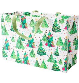 Caspari Christmas Gift Bag 15x10x6 Brushstroke Trees