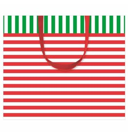 Caspari Christmas Gift Bag Large 11.75x4.75x10 Club Stripe