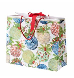Caspari Christmas Gift Bag Large 11.75x4.75x10 Porcelain Ornaments