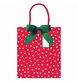 Caspari Christmas Gift Bag Large 10x4.75x11.75 Painted Dots