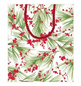 Caspari Christmas Gift Bag Large 10x4.75x11.75 Berries And Pine
