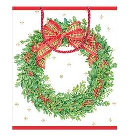 Caspari Christmas Gift Bag Large 10x4.75x11.75 Boxwood Berries Wreath