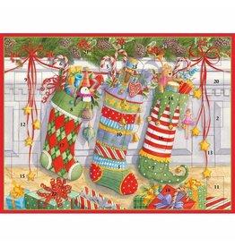Caspari Christmas Advent Calendar Stockings On The Mantel