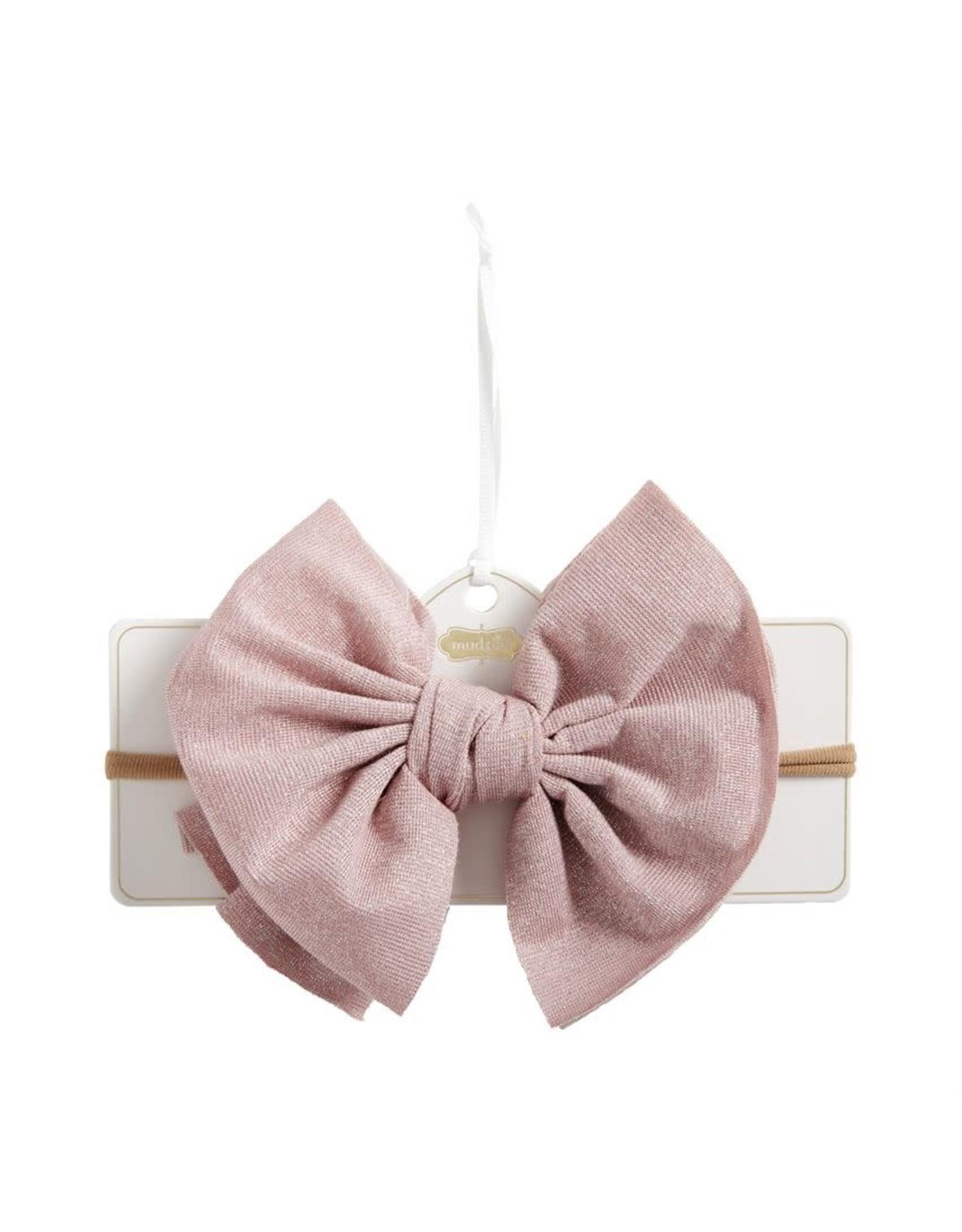 Mud Pie Baby N Kids Hair Accessories Shimmer Bow Headband Pink