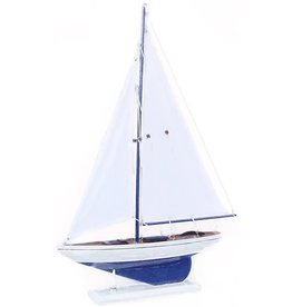Zodax Wooden Model Sailboat Milos With White Sails