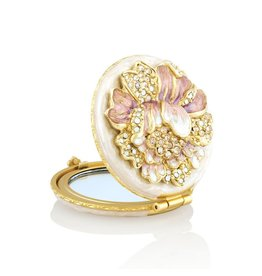 Jay Strongwater Compact Mirror Angela Round Floral Compact