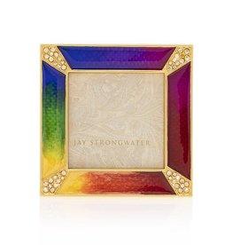 Jay Strongwater Photo Frame Leland Pave Corner 2x2 Mini Frame Rainbow