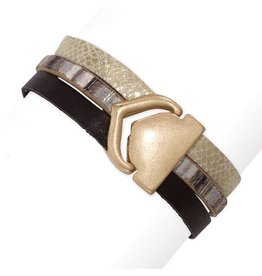 Periwinkle by Barlow Multi Animal Print Bracelet W Gold Closure