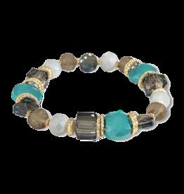 Periwinkle by Barlow Blue Bead Crystal Stretch Bracelet