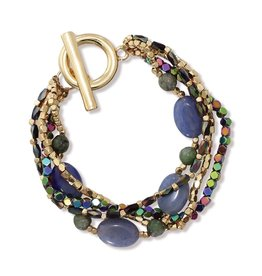 Periwinkle by Barlow Multi Band Nugget W Lazurite Beads Toggle Bracelet