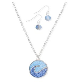 Periwinkle by Barlow Silver And Blue Wave Necklace Earring Set