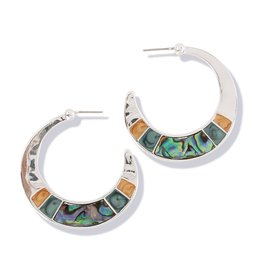 Periwinkle by Barlow Silver W Abalone And Enamel Inlay Earrings