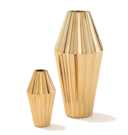 Global Views Milos Gold Vases Set Of 2 Assorted 6-12 Inches