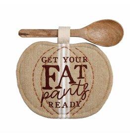 Mud Pie Pumpkin Pot Holder Spoon Set - Get Your Fat Pants Ready