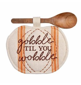 Mud Pie Pumpkin Pot Holder Spoon Set - Gobble To You Wobble