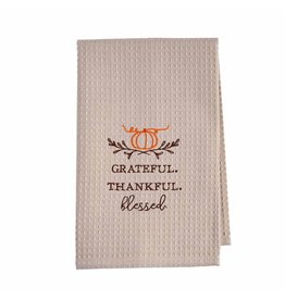 Mud Pie Thanksgiving Waffle Weave Hand Towel Grateful Thankful Blessed