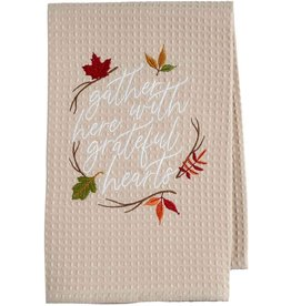 Mud Pie Thanksgiving Waffle Hand Towel Gather Here w Grateful Hearts
