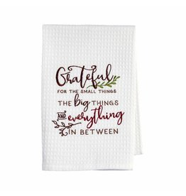 Mud Pie Thanksgiving Waffle Hand Towel Grateful For The Small Things