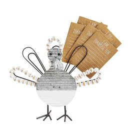 Mud Pie Thankful Turkey Card Holder With 5 - I Am Thankful For - Cards