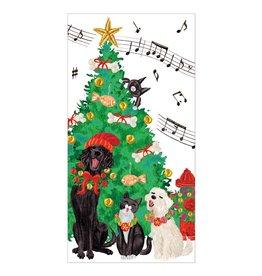 Caspari Christmas Money Holder Cards 4pk Caroling Pets