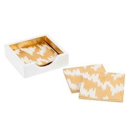 Caspari Square Lacquer Coasters In Holder Set Modern Moire Gold