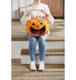 Mud Pie Halloween Pumpkin Candy Bucket Candy Bag Lined Canvas w Handle