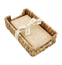 Mud Pie Thanksgiving Blessed Guest Towel Napkin In Basket Set