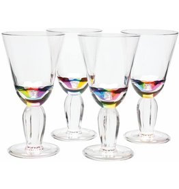 Merritt International Acrylic Diamond Rainbow Wine Glasses 12 Oz Set Of 4