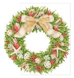 Caspari Christmas Cards Shell Wreath Die Cut Card