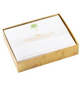Caspari Correspondence Cards Boxed Set of 20 - Palm Tree Green