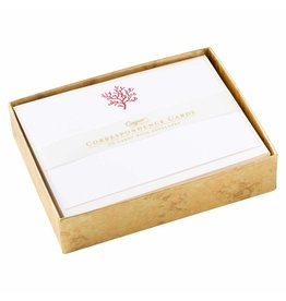 Caspari Correspondence Cards Boxed Set of 20 - Coral