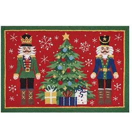 Peking Handicraft Christmas Hook Rug Two Nutcrackers By Tree 24x36
