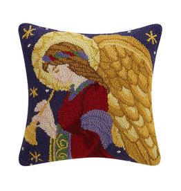 Peking Handicraft Christmas Hook Pillow Angel Playing Horn 16x16 Sq