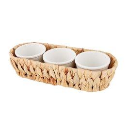 Mud Pie Hyacinth Basket With Stoneware Dip Bowls Set